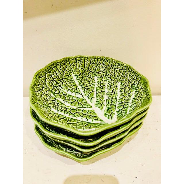 1970s Majolica Lettuce Leaf Salad Plates, S/4 For Sale - Image 5 of 5