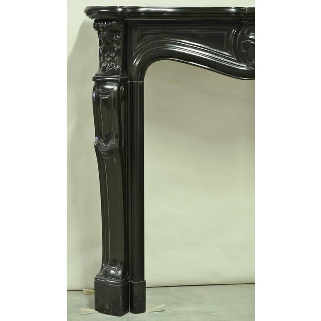 Black Marble Black Marble Louis XV Fireplace Mantel, 19th Century For Sale - Image 7 of 8