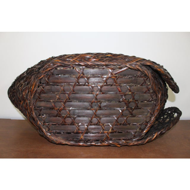 Bamboo Early 20th Century Antique Japanese Ikebana Bamboo Basket For Sale - Image 7 of 8