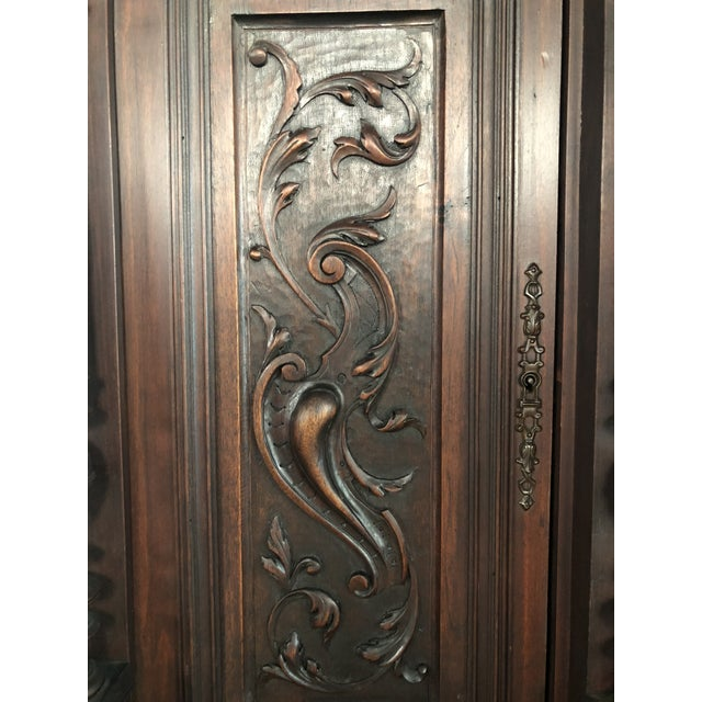 English Traditional 1800s Carved Antique Library Hutch For Sale - Image 3 of 11