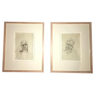 Framed Etchings - Pair For Sale