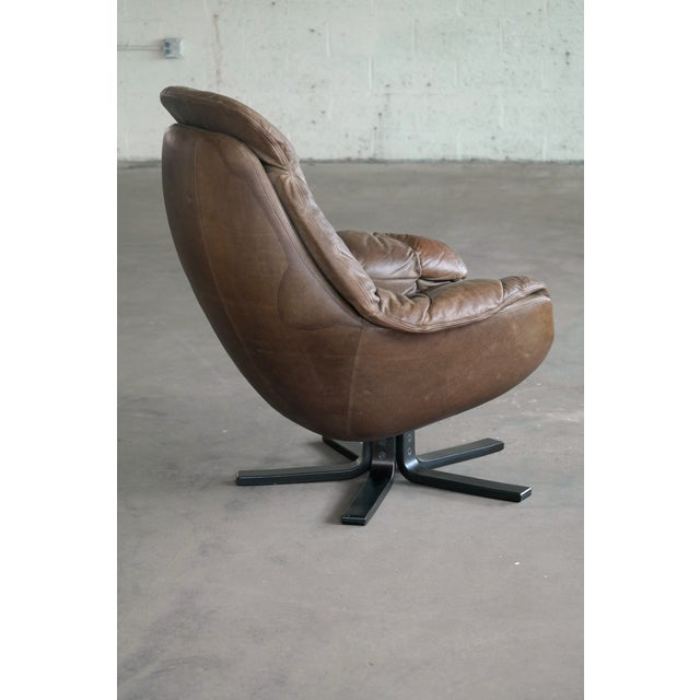 Wood Danish Mid-Century Brown Leather Egg Chair with Ottoman by H. W. Klein For Sale - Image 7 of 13