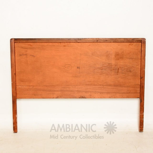 Art Deco Style Full Size Bed, Walnut Wood - Image 3 of 8