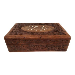 1960s Vintage Hand Carved Wooden Box For Sale