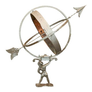 Vintage Atlas Holding the Globe Sun Clock For Sale