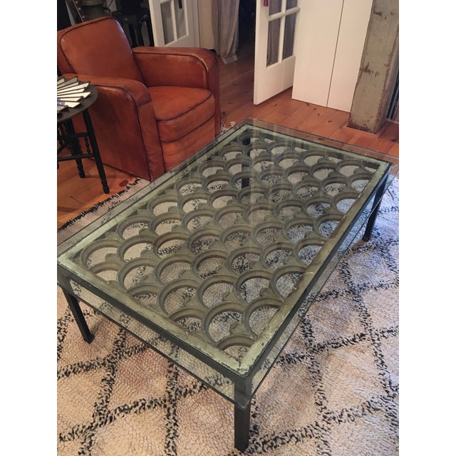 Industrial Iron & Glass Top Coffee Table - Image 3 of 5