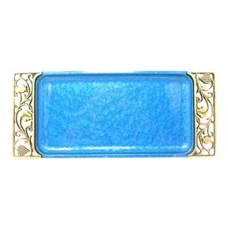 1950s Hollywood Regency Turquoise Moire Glaze Enamel & Brass Tray
