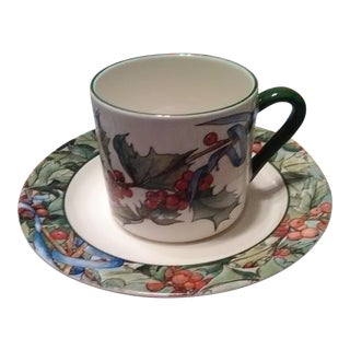 Gien China Le Houx Pattern Cup & Saucer