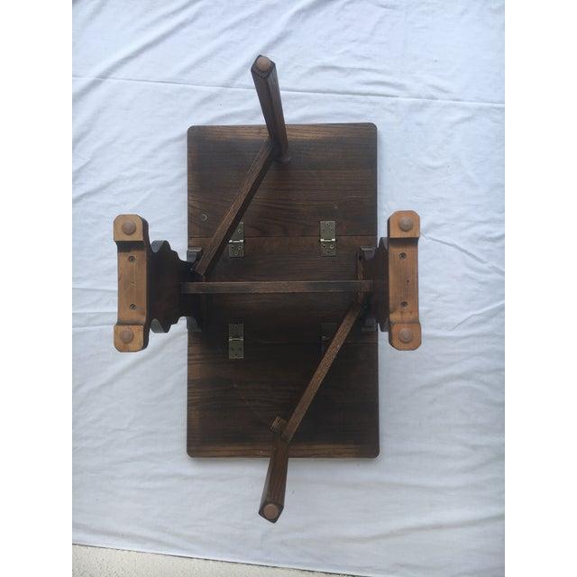 Small Petite Mini Vintage Mid-Century Wood Drop Leaf Side Table For Sale - Image 11 of 13