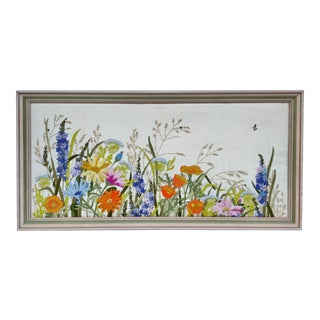 Vintage Embroidered Original Floral Framed Artwork For Sale