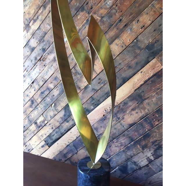 """Flame"" Brass Marble Sculpture by Curtis Jere - Image 4 of 8"