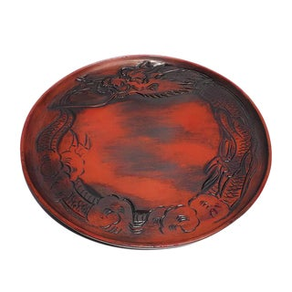 Vintage 1940s Hand Carved Imperial Dragon in Red and Brushed Black Wood Plate / Tray For Sale