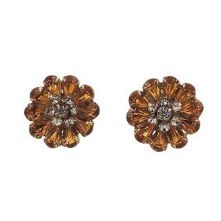 1950s Kramer Faux-Topaz Rhinestone Earrings For Sale