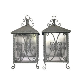 1950s Vintage Italian Indoor / Outdoor Galvanized Steel & Glass Lanterns - A Pair For Sale