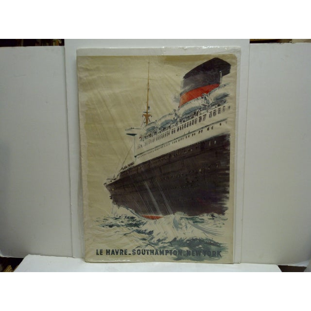 """French Circa 1940 Vintage French """"Le Havre"""" Ship Poster For Sale - Image 3 of 6"""