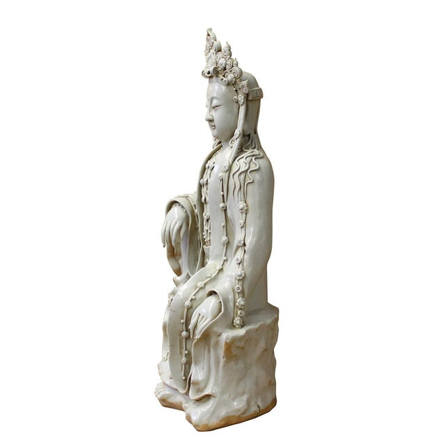 Asian Chinese Tong Style Porcelain Kwan Yin Tara Bodhisattva Statue For Sale - Image 3 of 7