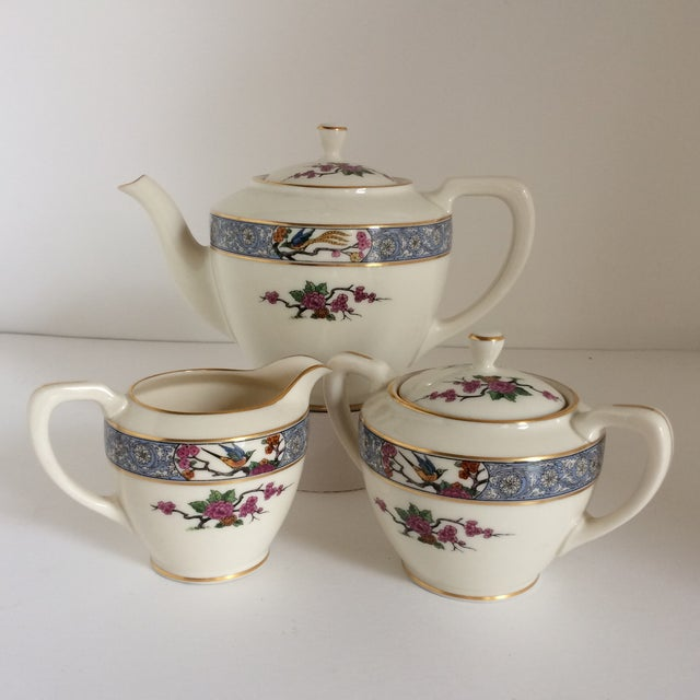 "Teapot with Creamer and Sugar ""Ming"" with Bird by Lenox - Set of 3 For Sale - Image 11 of 11"