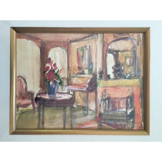 Framed Interior Scene Watercolor Painting For Sale - Image 4 of 4