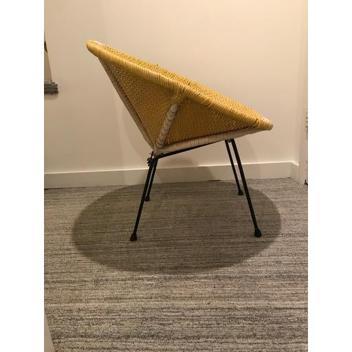 Boho Chic Vintage Mid-Century Atomic Vinyl Yellow Basket Chair For Sale - Image 3 of 13