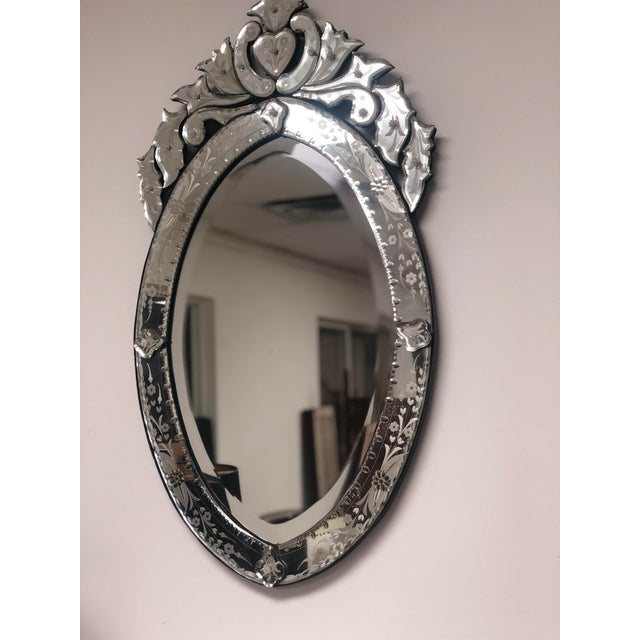 Vintage Venetian Scrolling Heart Oval Wall Mounted Mirror For Sale In Milwaukee - Image 6 of 11