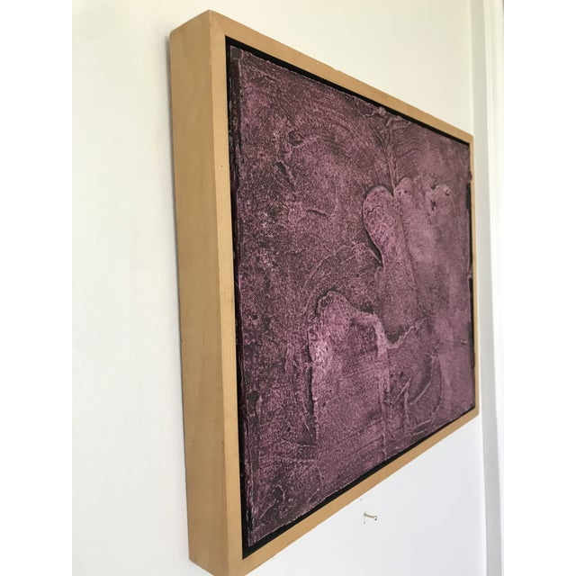 Vintage Mid-Century Modern Purple Abstract Plaster Wall Art Artwork For Sale - Image 4 of 7