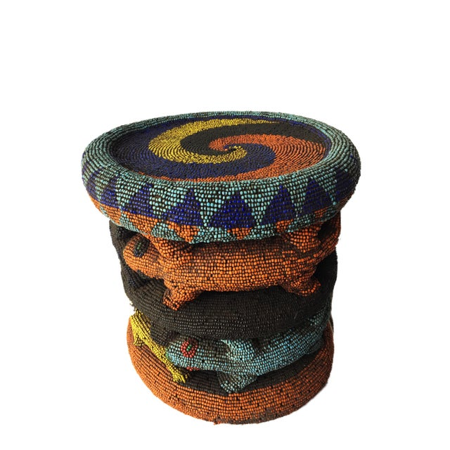 """Green Beaded Wood Bamileke Leopard Stool /Table Cameroon 8.5'""""h For Sale - Image 8 of 13"""