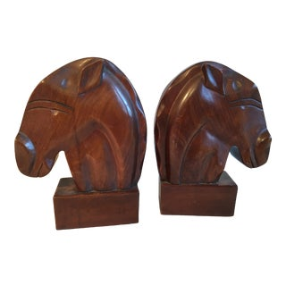 Art Deco Style Horse Head Bookends - a Pair For Sale