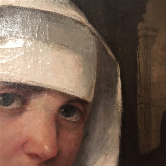 Antique Oil Painting of a Nun - Image 5 of 6