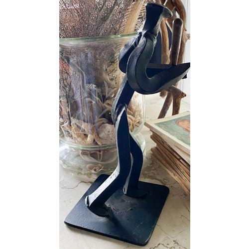 Mid-Century Modern Iron Baseball Player Statue, Made From a Railroad Spike, Signed For Sale - Image 3 of 7