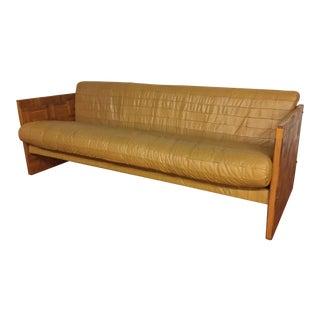 Patchwork Leather and Oak Parquet Vintage Sofa For Sale