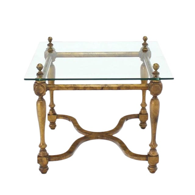 Figural Base Glass Top Side End Table For Sale