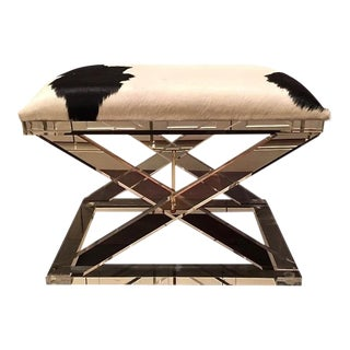 Modern Interlude X Acrylic Hide Stool For Sale