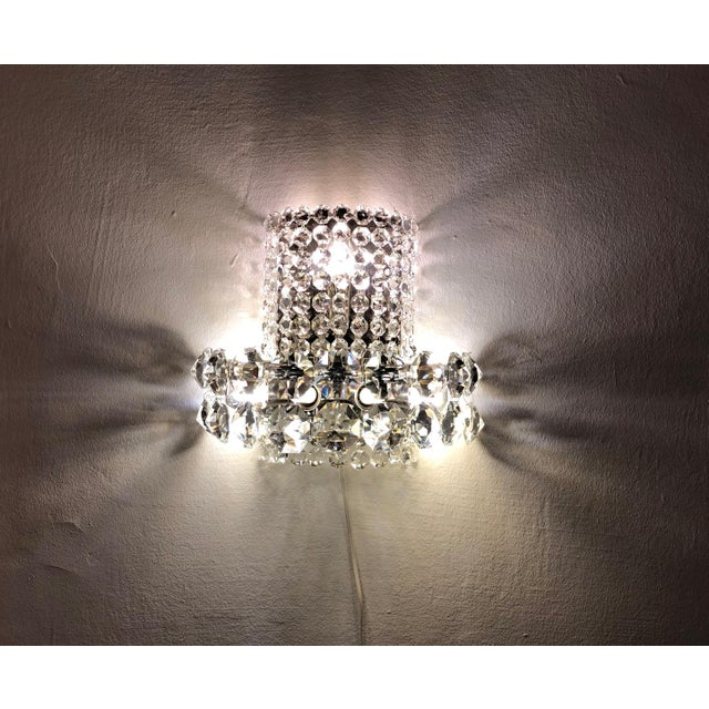 1960s Pair of Large Crystal Sconces by Bakalowits and Sohne For Sale - Image 5 of 13