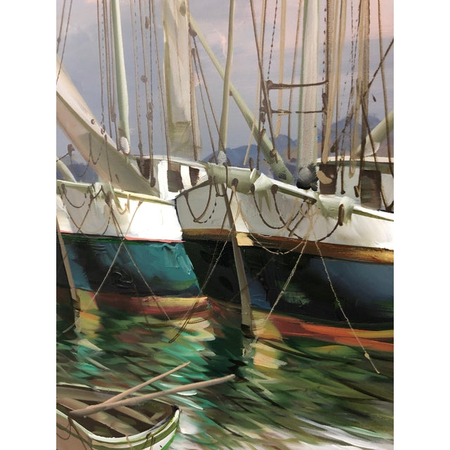 Modern Big Bold Canvas Painting of Harbor Sailboats For Sale In Philadelphia - Image 6 of 10