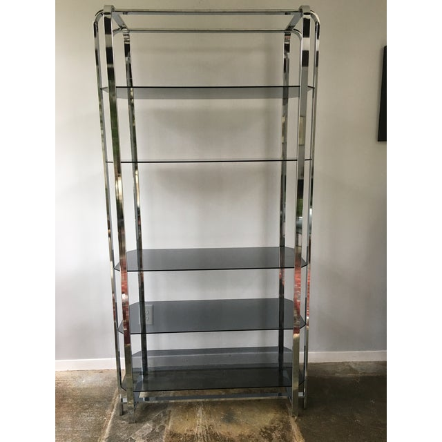 Milo Baughman Chrome and Smoked Glass Etagere For Sale - Image 9 of 9