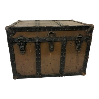 Vintage Industrial Brown Steamer Trunk - Cleveland Ohio For Sale