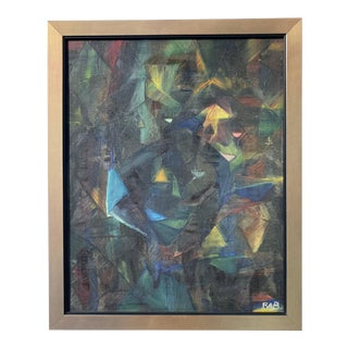 Vintage Mid-Century Abstract Oil Painting For Sale