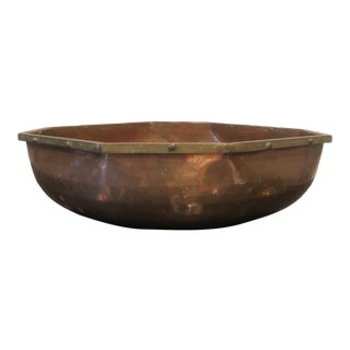 Vintage Hammered Copper and Brass Octogon Bowl For Sale