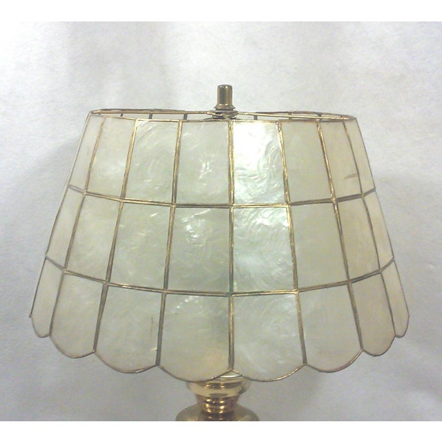 Brass Table Lamp with Capiz Shell Shade For Sale - Image 4 of 5