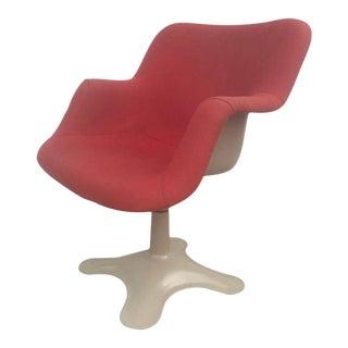 Yrjo Kukkapuro Sculptural Red Fiberglass Swivel Chair For Sale