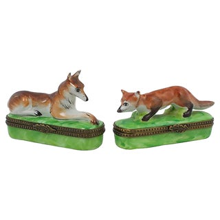 Fox & Hound Limoges Boxes - a Pair For Sale