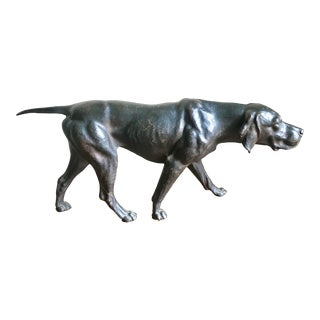 1930s Vintage Hunter Pointer Dog Sculpture For Sale