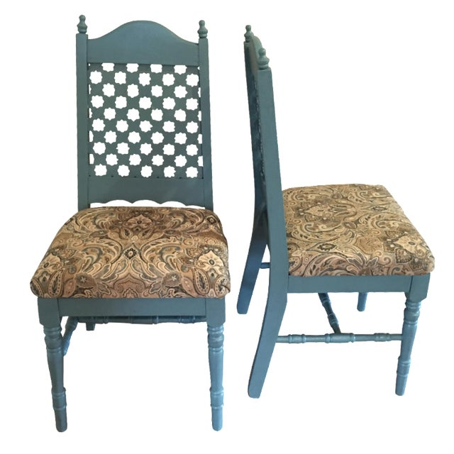 Vintage Blue Cottage Chairs - A Pair - Image 1 of 7