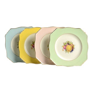 Royal Winton Square Salad Plate Mixed Fruit Motif - Set of 4 For Sale