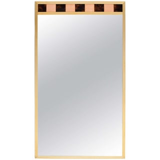 Brass Framed Mirror With Ceramic Tile Detail For Sale