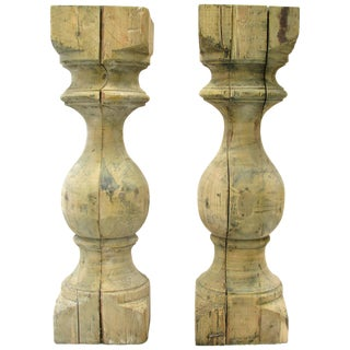 Large Wooden Pine Balusters - a Pair For Sale