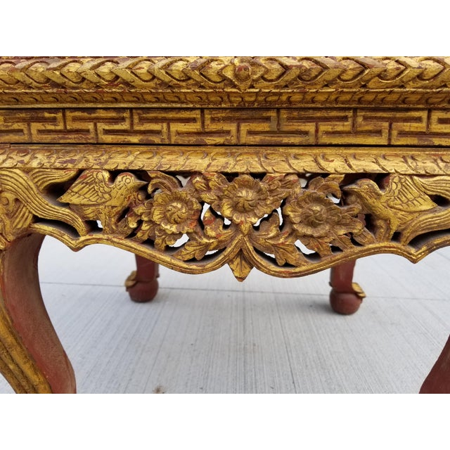 18th Century Antique Chinese Gilt Carved Wood Kang Table For Sale - Image 5 of 13