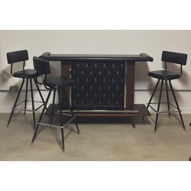 Mid-Century Modern Bar with Set of 3 Bar Stools - Image 2 of 11