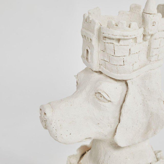 Dog With Crown Sculpture in Plaster For Sale - Image 4 of 5