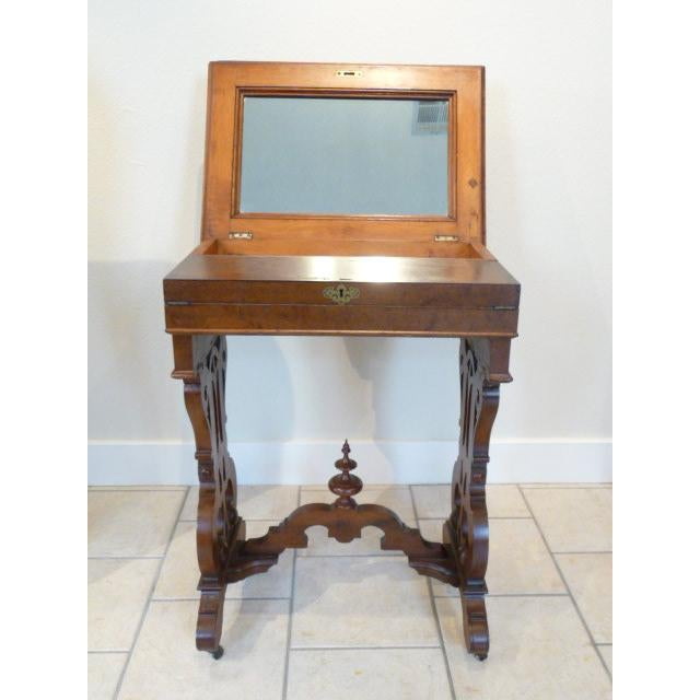 1860's Victorian Walnut Lift Top Writing Desk For Sale In New Orleans - Image 6 of 10